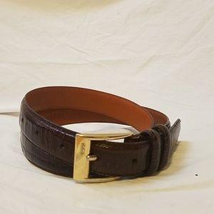 RALPH LAUREN Brown Leather Crocodile Embossed Belt